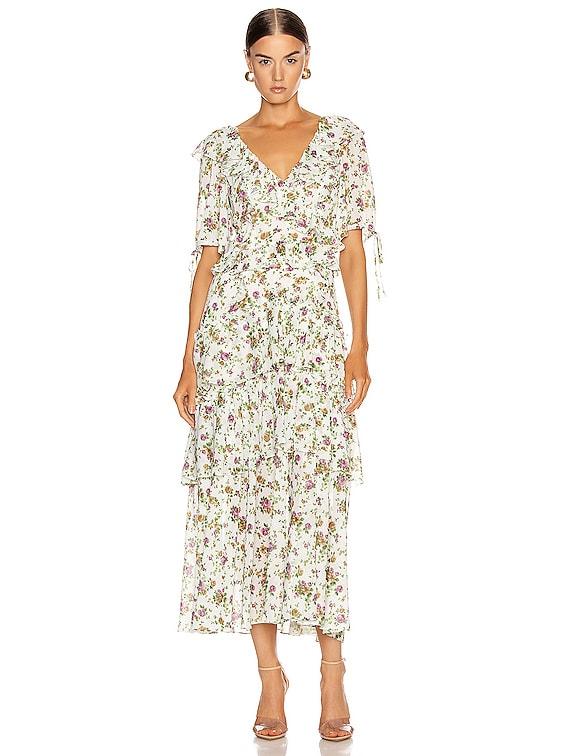 Deandra Tea Length Dress in Ephrata White