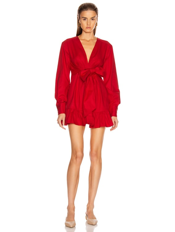 Janelle Lightweight Canvas Dress in Rouge