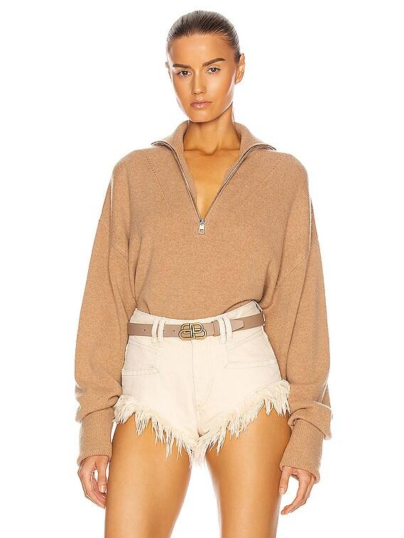Wesley Boyfriend Fit Zip Front Sweater in Camel