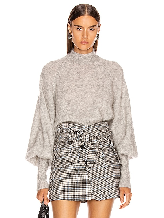 Piper Mockneck Trapeze Sweater in Light Grey
