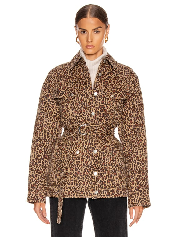 Ellery Print Anorak Jacket in Khaki Leopard