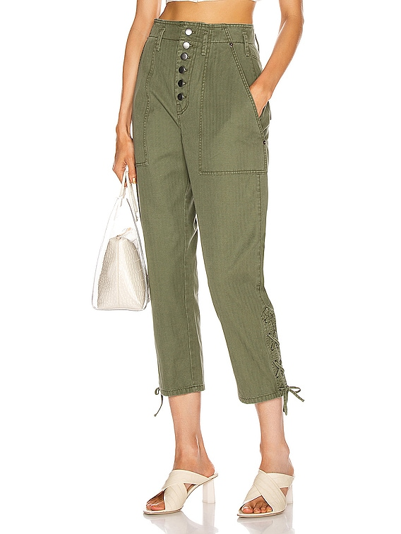 Laszlo Washed Canvas Pant in Military Green