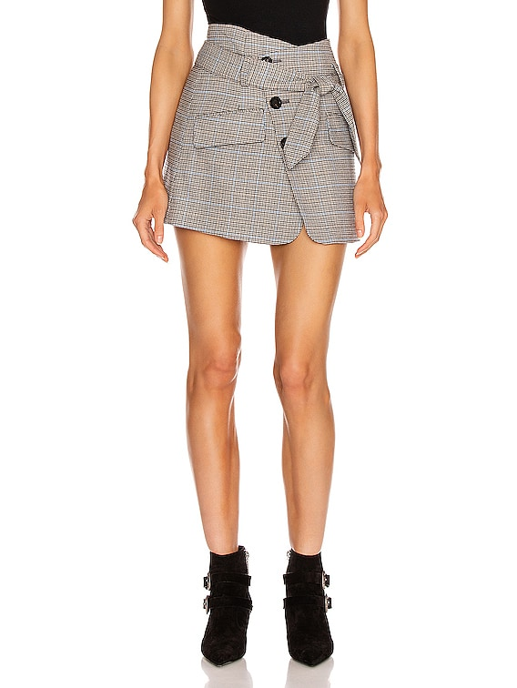 Katrina Plaid Skirt in Light Grey Combo