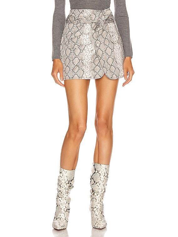 Katrina Print Canvas Skirt in White Python