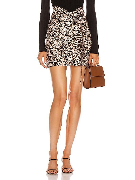 Brooke Lightweight Canvas Print Skirt in Sandshell Leopard