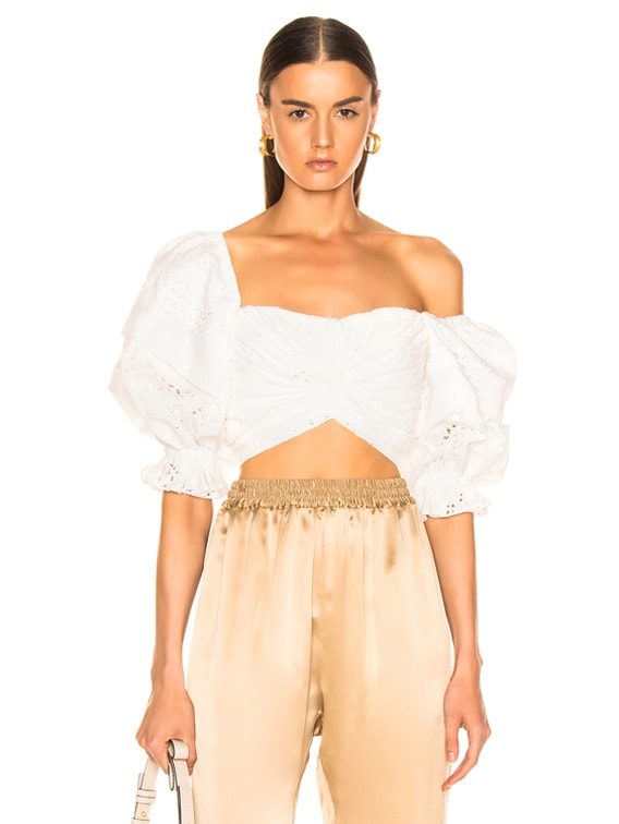 Pascal Eyelet Top in White