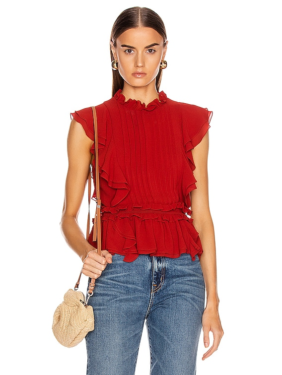 Florence Crepe Top in Terracotta