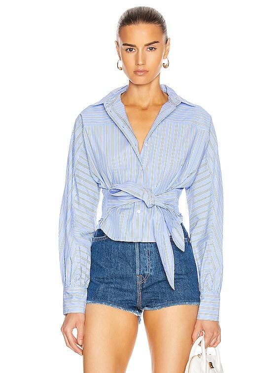 Emmerson Striped Shirt in French Blue & Dark Blue Stripes