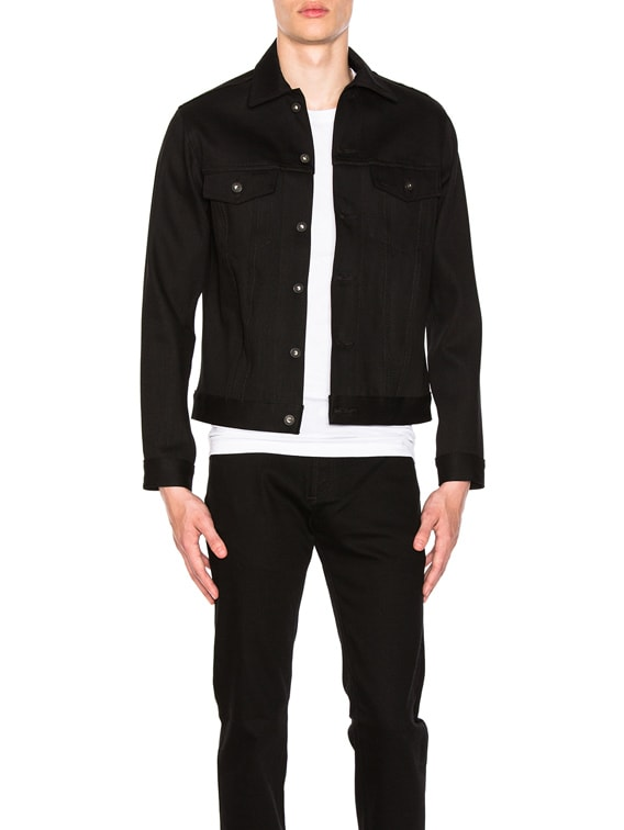Denim Jacket Solid Black Selvedge in Black