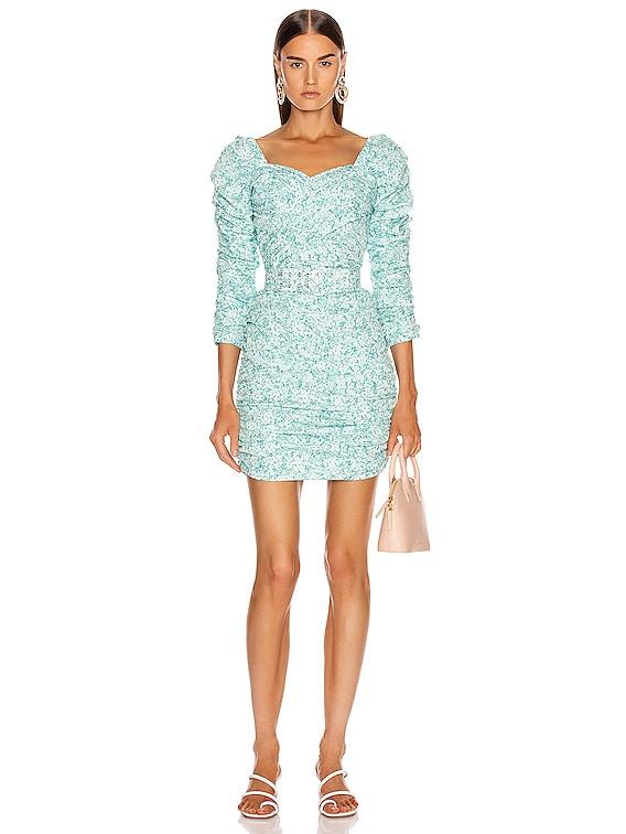 Crossover Gathered Dress in Aqua Shadow Multi