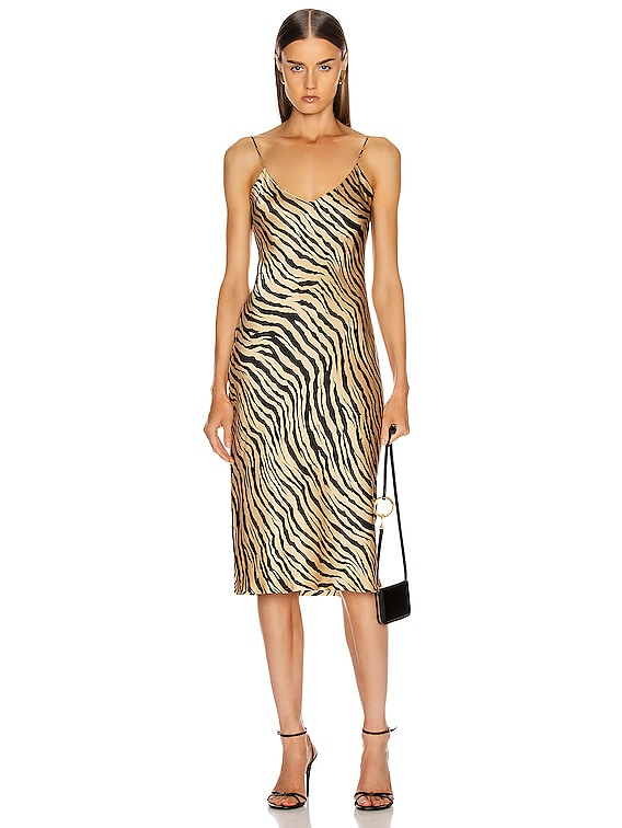 Short Cami Dress in Gold Tiger Print