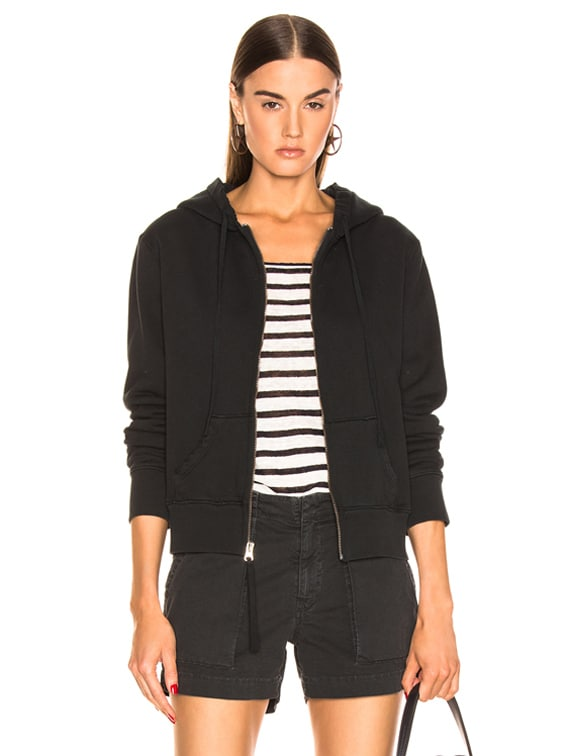 Callie Zip Up Hoodie in Washed Black