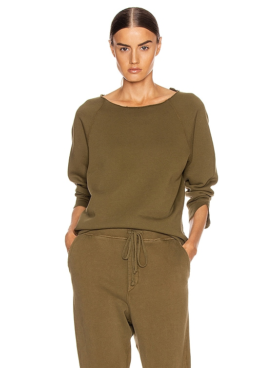 Luka Scoop Neck Sweatshirt in Army Green