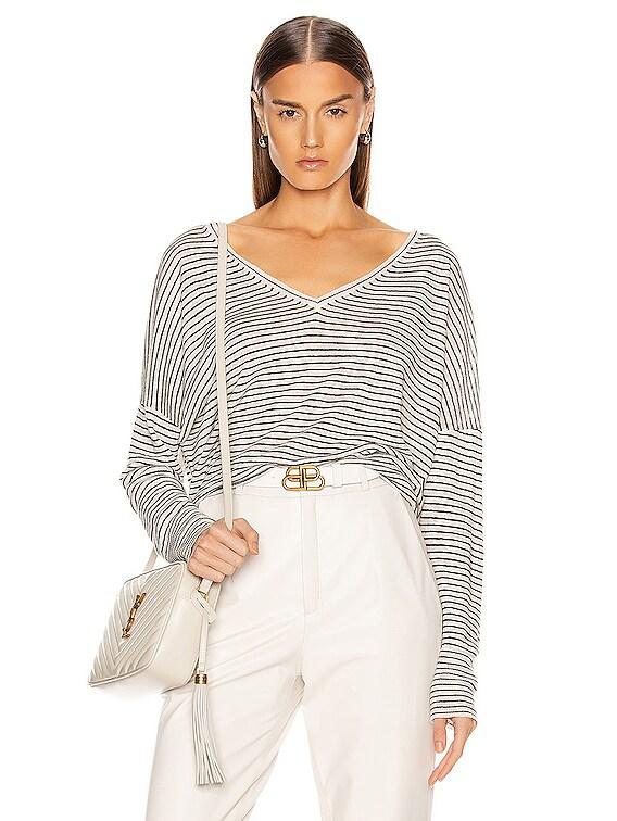 Maggie Linen Sweater in Ivory & Black Stripe