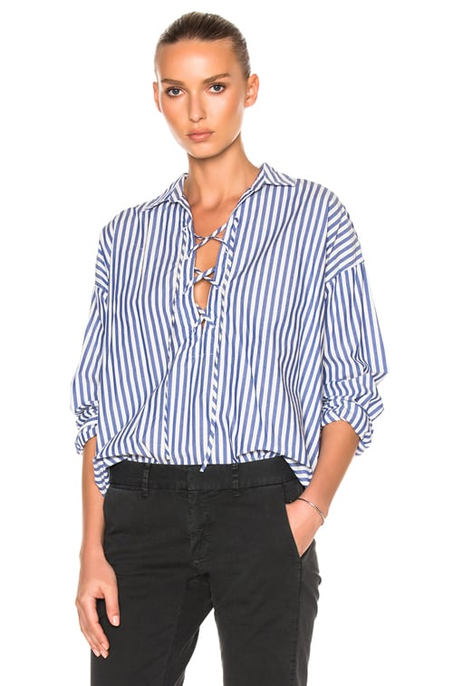 Shiloh Top in Blue Stripe & White
