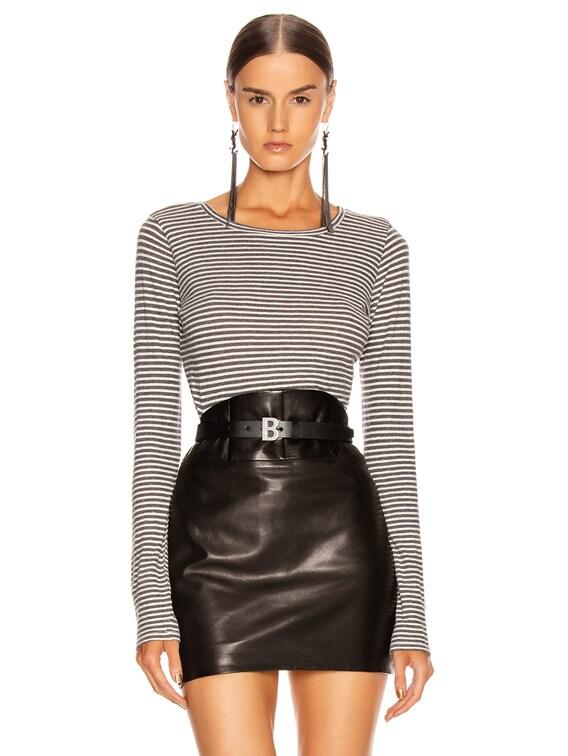 Long Sleeve Shirt in Charcoal & White Stripe