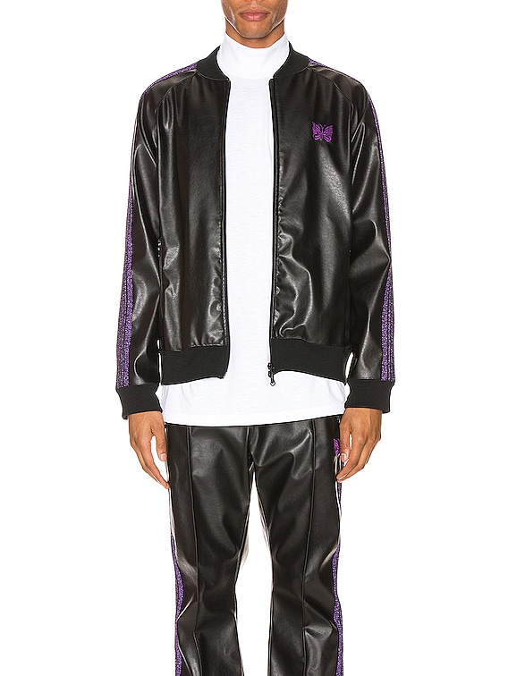 Rib Collar Track Jacket in Black