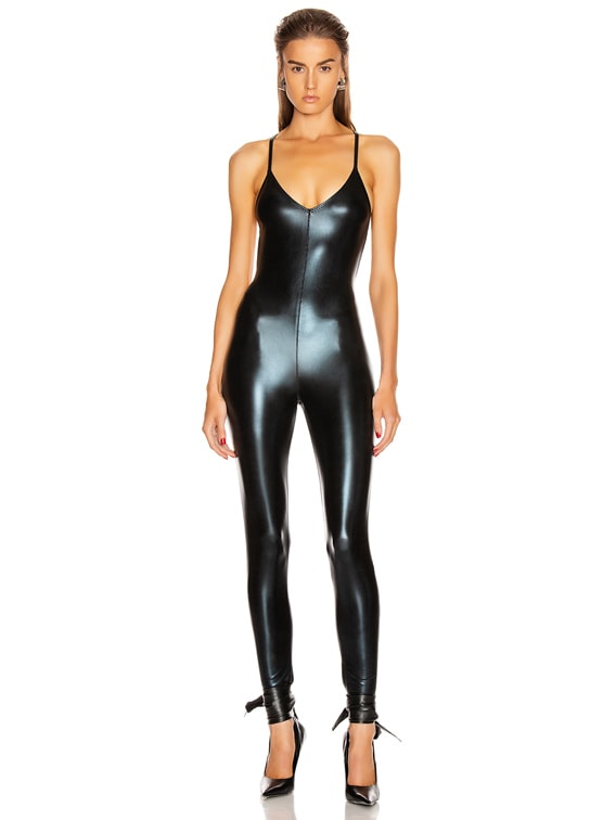 Low Back Fara Slip Catsuit in Black Foil