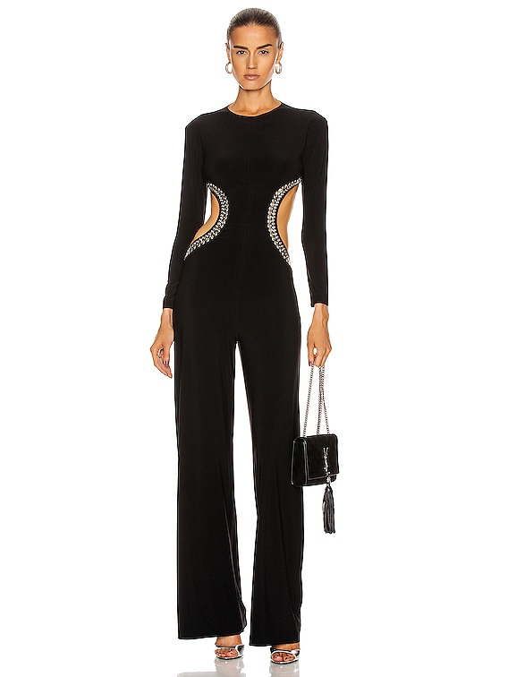 Stud Long Sleeve Side Cut Out Jumpsuit in Black