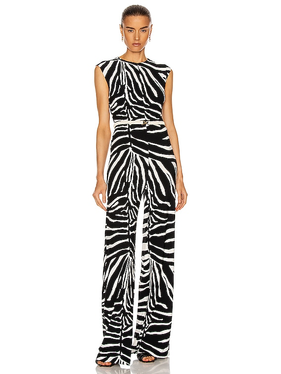 Sleeveless Jumpsuit in Large Zebra