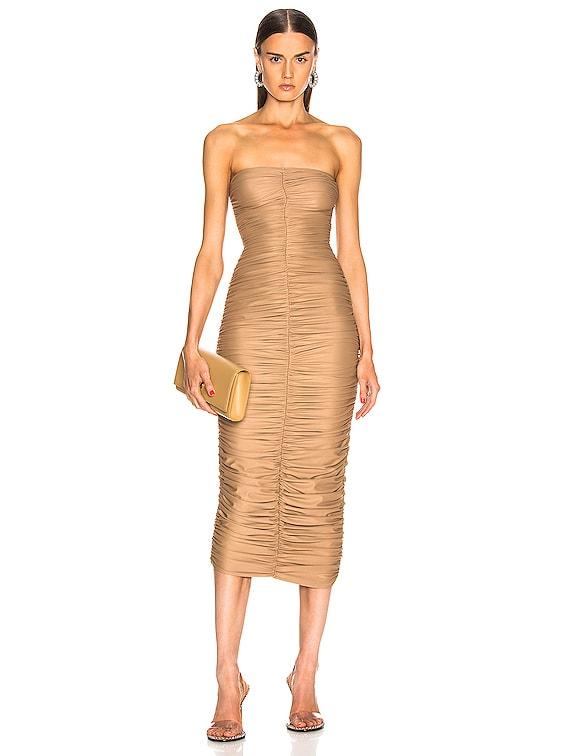 Slinky Dress for FWRD in Suntan