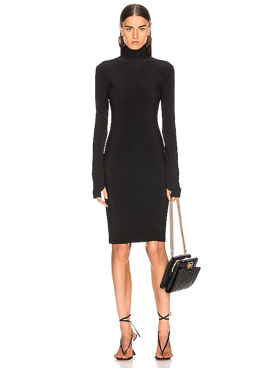 Slim Fit Turtleneck Dress in Black