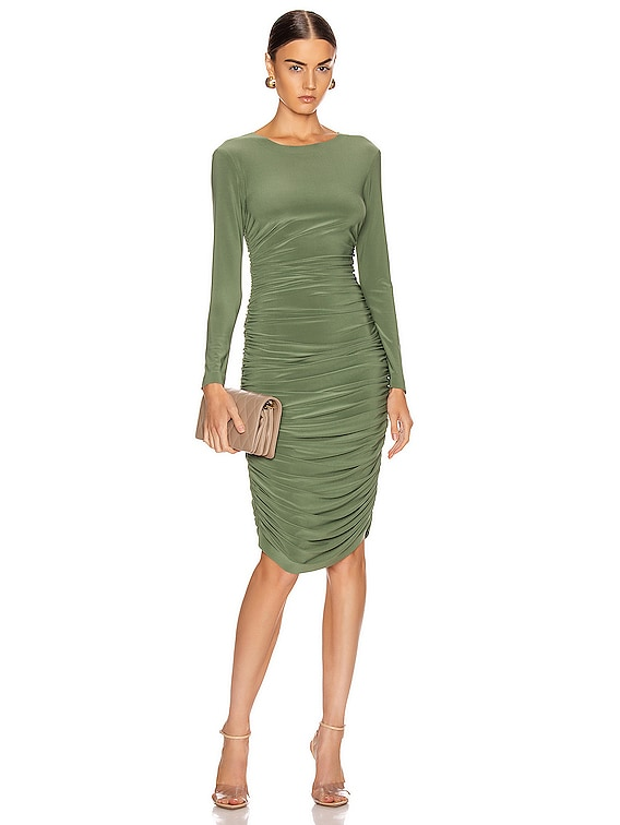Long Sleeve Shirred Dress in Celadon