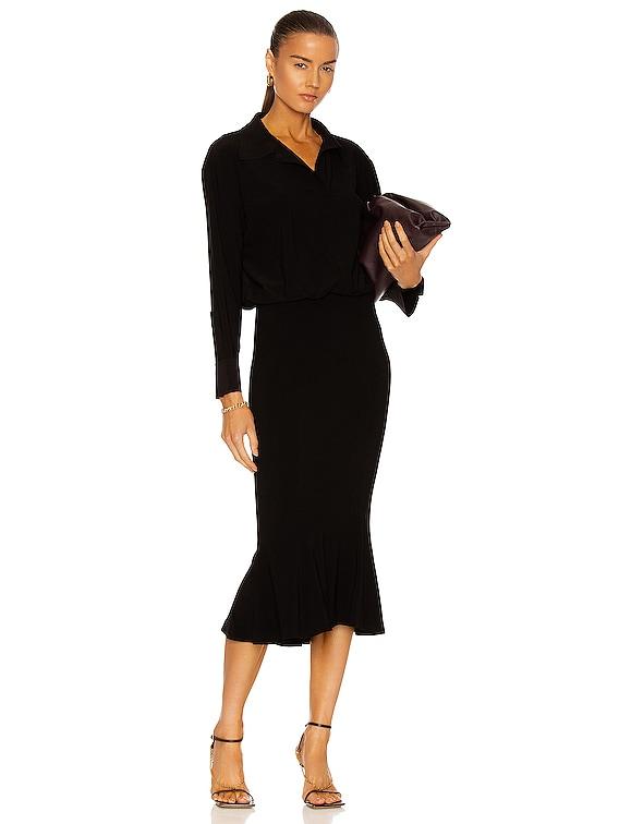 Boyfriend NK Shirt Fishtail Dress in Black