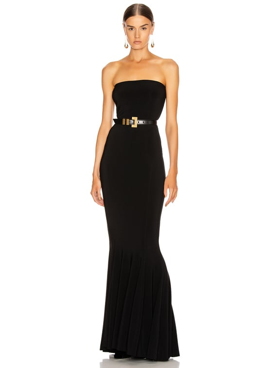 Strapless Fishtail Gown in Black
