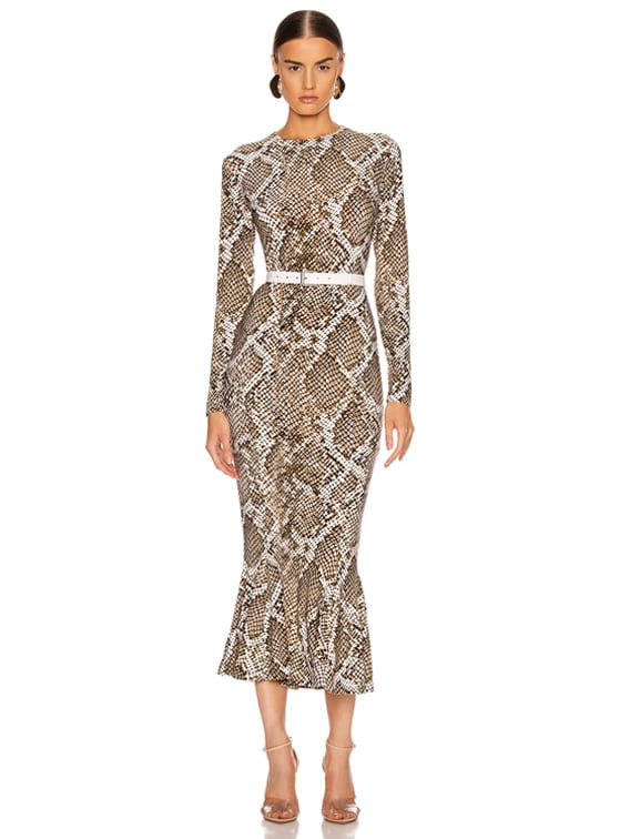 Crew Fishtail Dress in Scale Python