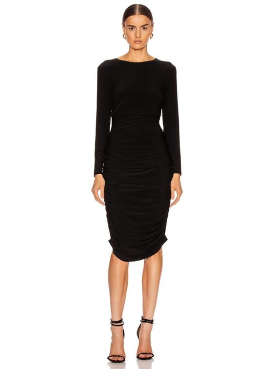 Long Sleeve Shirred Dress in Black
