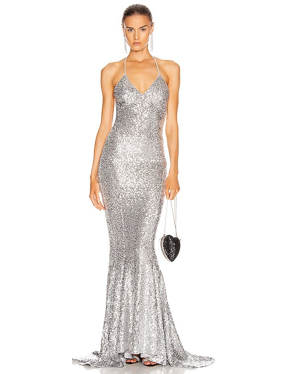 Sequin Low Back Slip Mermaid Fishtail Gown in Silver