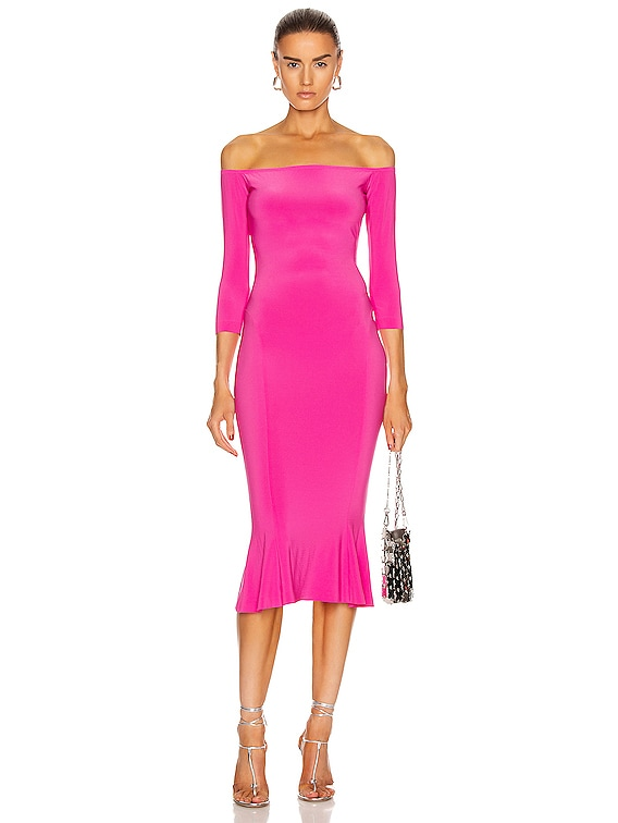 for FWRD Off Shoulder Fishtail Dress in Orchid Pink