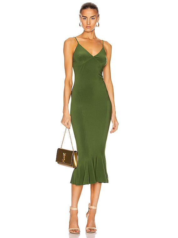 for FWRD Slip Fishtail Midi Dress in Oliva