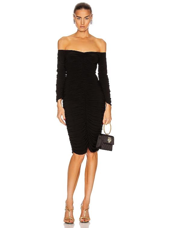 Off Shoulder Slinky Dress in Black