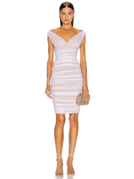 for FWRD Tara Mini Dress in White Mesh & Nude