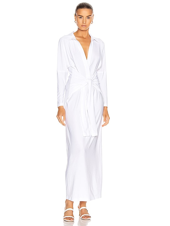 Tie Front NK Shirt Dress in White