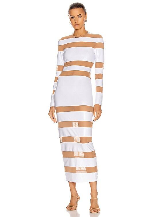 Spliced Dress in White Foil & Nude Mesh