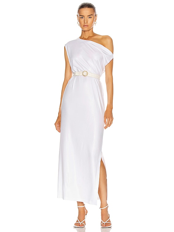Drop Shoulder Gown in White