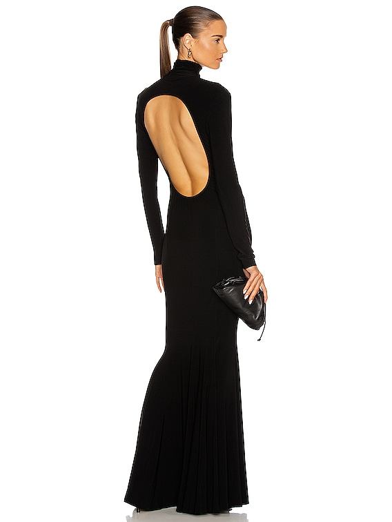 Long Sleeve Turtleneck Open Back Fishtail Dress in Black