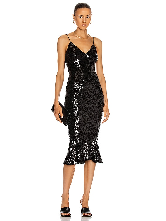 Overlapping Sequin Slip Fishtail Dress in Black