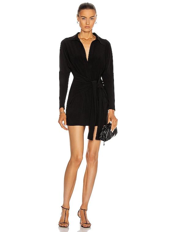 Mini Tie Front Shirt Dress in Black