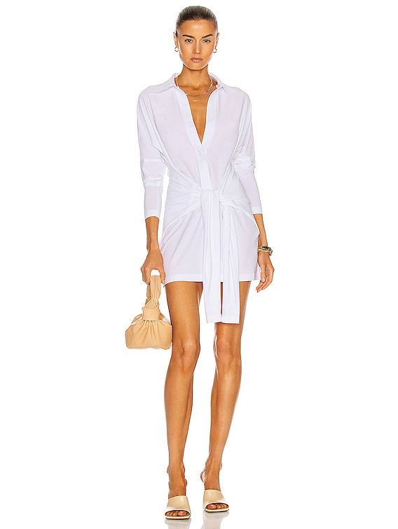 Mini Tie Front NK Shirt Dress in White