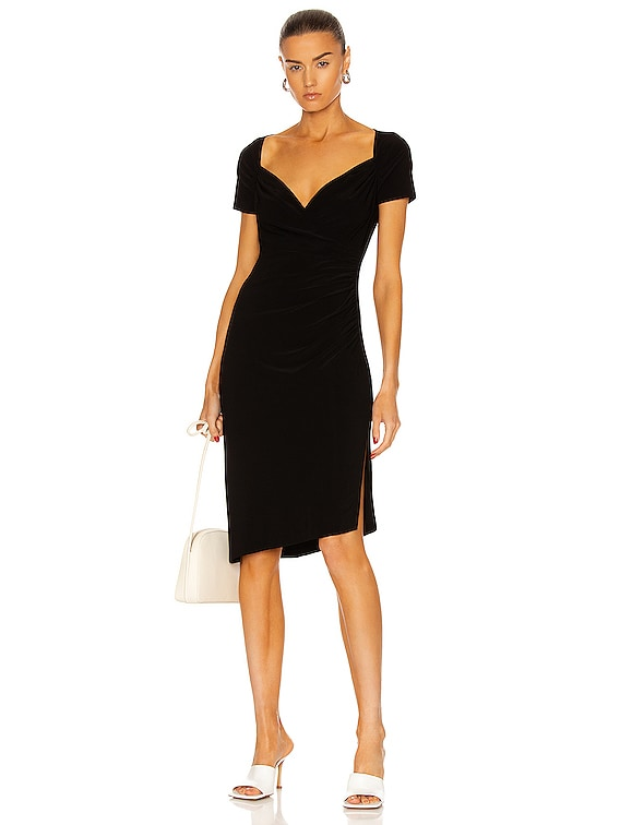 Sweetheart Side Drape Dress in Black