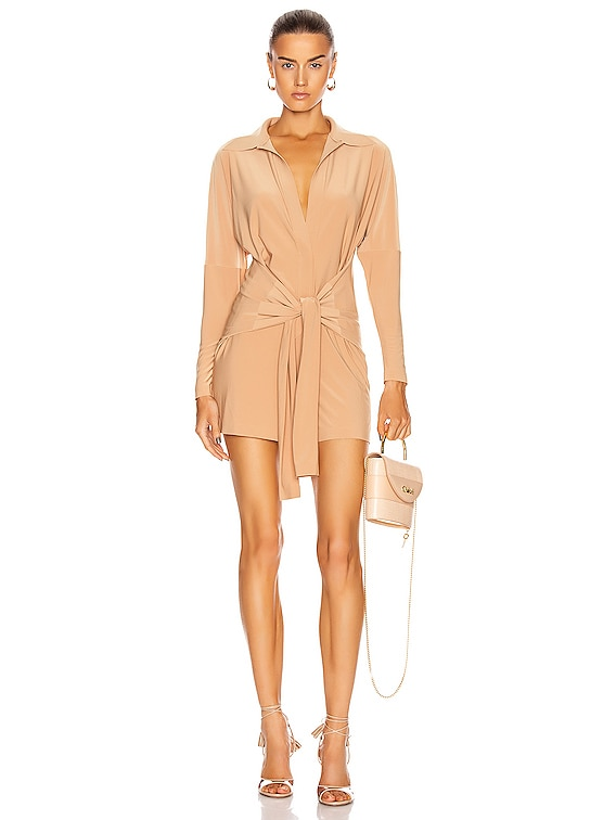 Tie Front NK Shirt Jumpshort in Nude