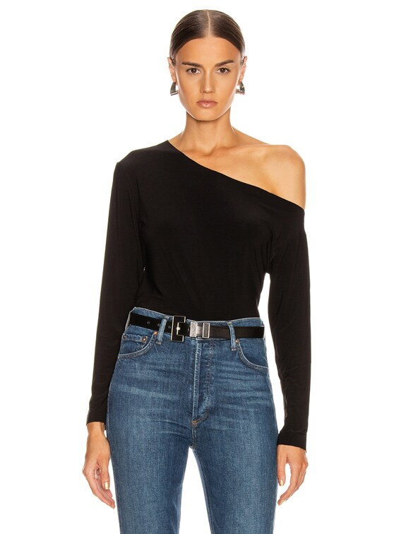 Long Sleeve Drop Shoulder Top in Black