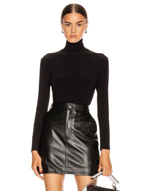 Long Sleeve Turtleneck Bodysuit in Black