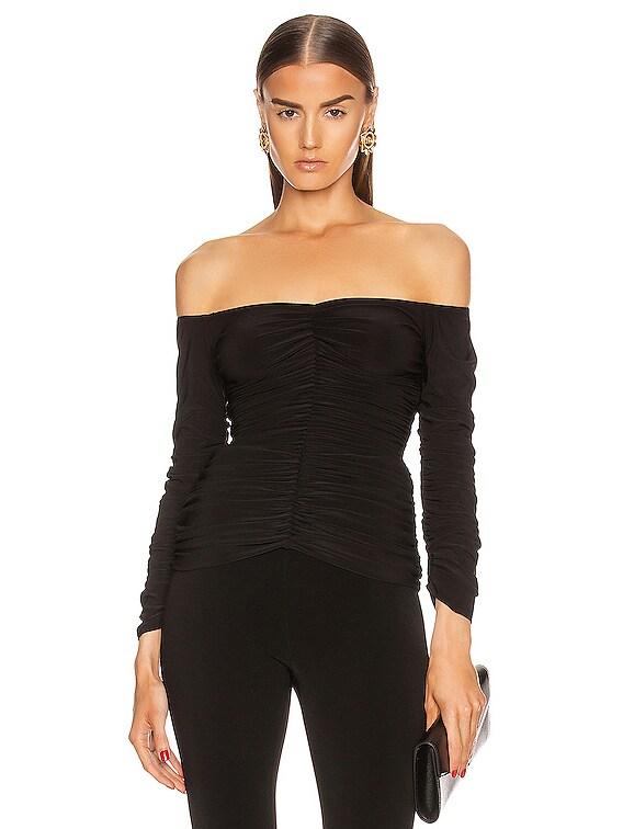 Off Shoulder Slinky Top in Black