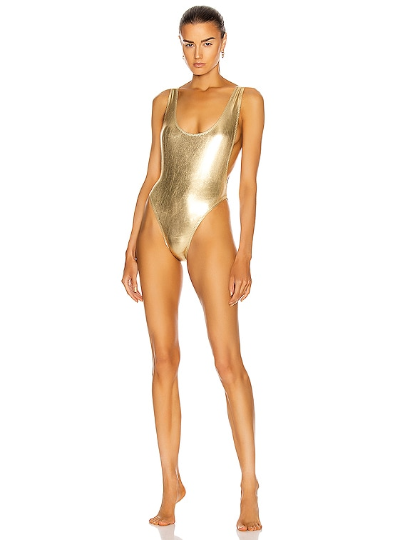 Marissa Swimsuit Foil in Metallic Gold