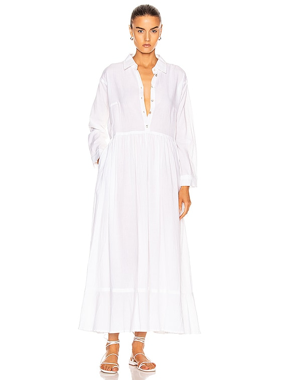 Heath Dress in Flat Cotton White